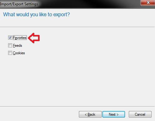 import favorites into ie windows 7