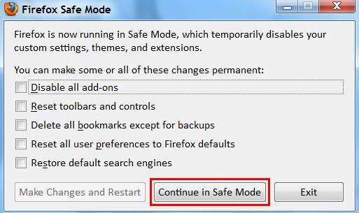 how to open firefox in safe mode