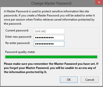 how to create a new master password in firefox