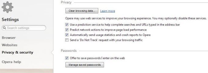 how to delete saved passwords in opera