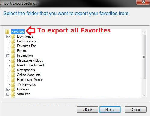 how to import and export favorites in internet explorer in windows 7