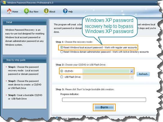 Windows XP password Recovery