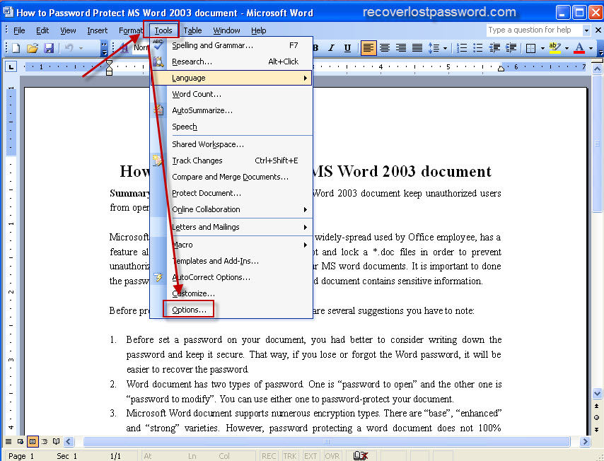 how to password protect ms word 2003 document