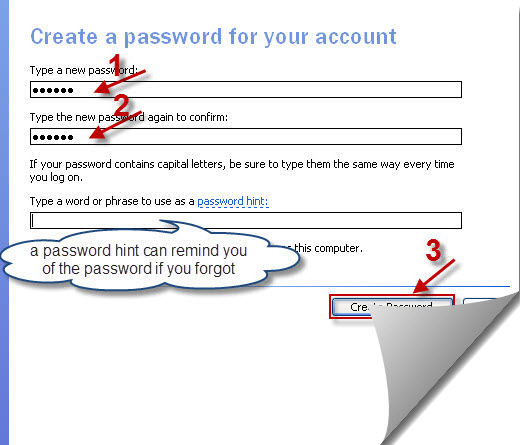 Click To View Screenshots Of Create A Password For Your Account