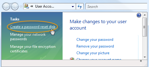 Windows Vista Password Disk