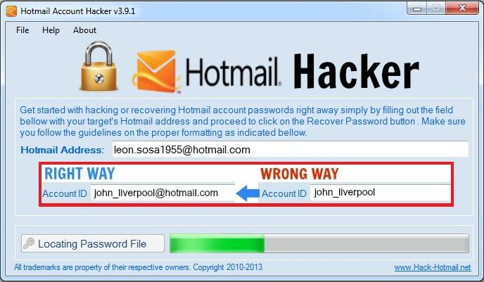 hotmail account hacker software