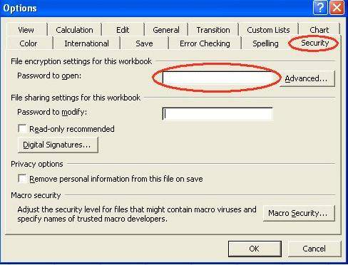 how to create password in excel