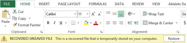 how to recover an unsaved excel document 2013