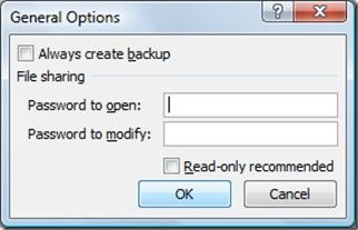password protect excel 2010