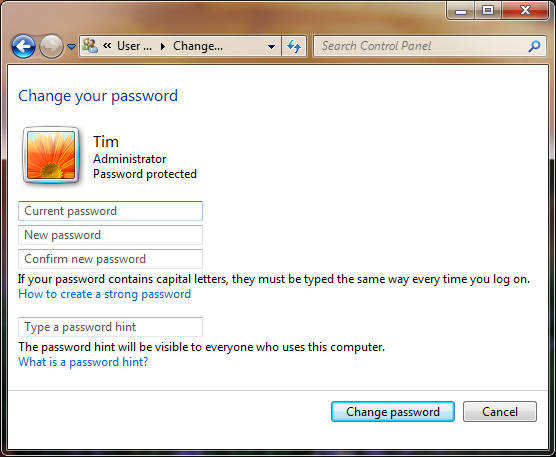 how to change administrator password on windows vista