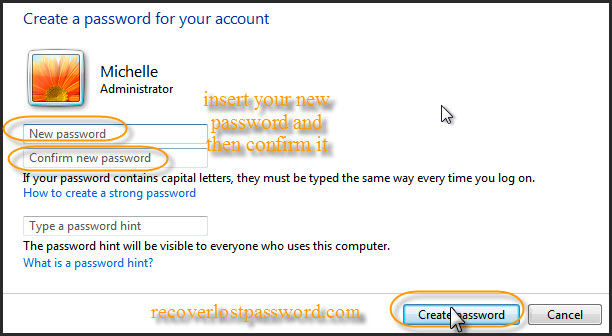 insert windows 7 password