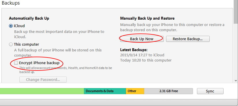 back up iphone in itunes