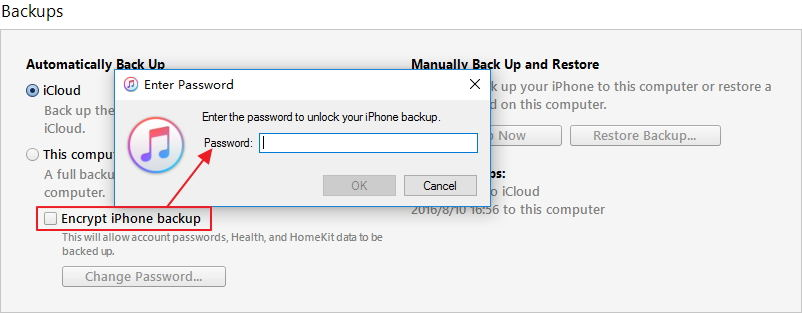 remove itunes backup password