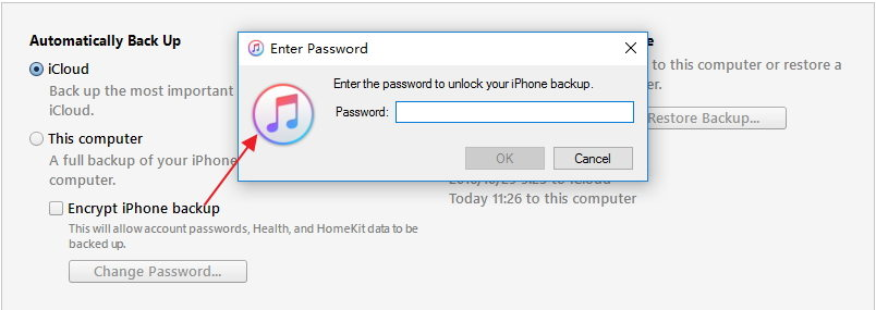 turn off itunes backup encryption