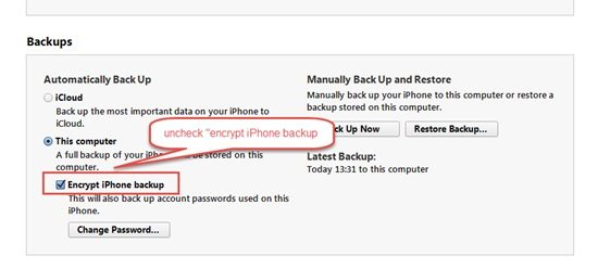 how to turn off iTunes backup encryption