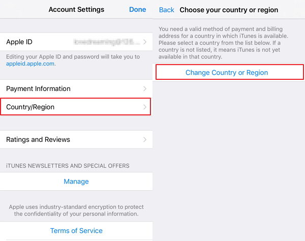 change itunes store region