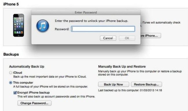 find the password for itunes backup
