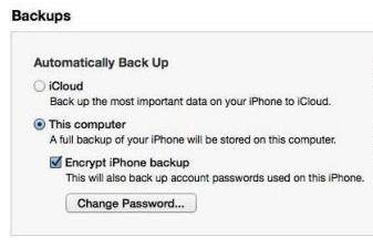 iphone backup password mac
