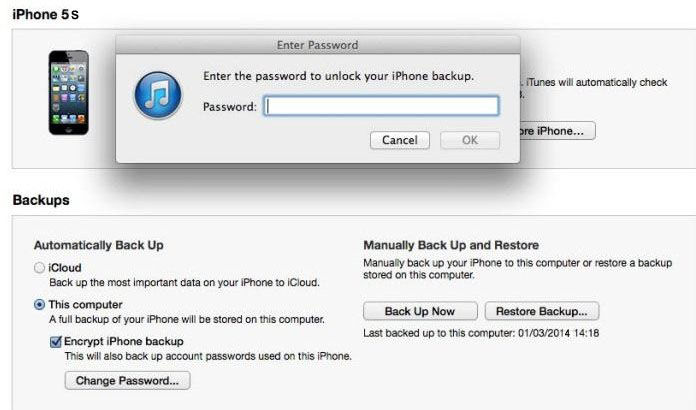 itunes 11 backup password recovery
