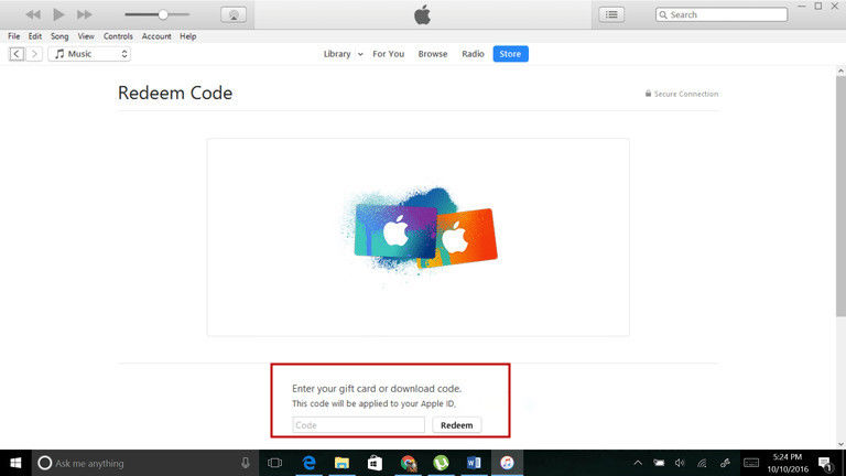 iTunes redeem code on Windows