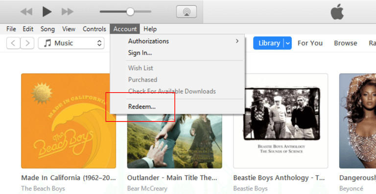 iTunes redeem on Windows
