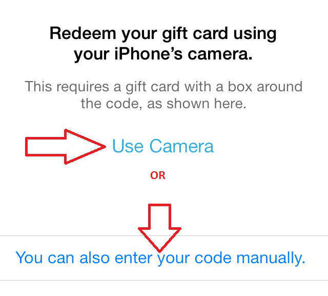 redeem iTunes gift card with iPhone camera