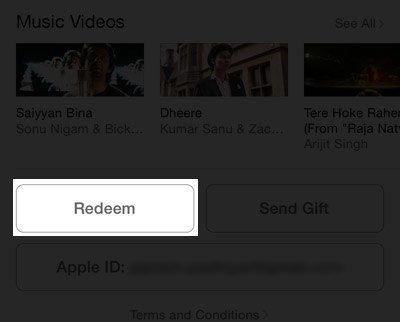 Redeem in iTunes store on iPhone