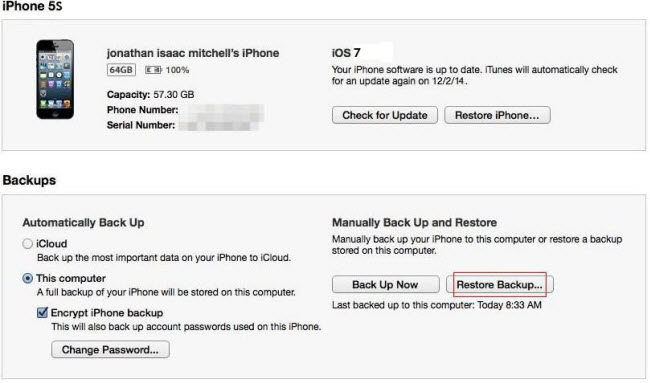 how to retrieve iphone 5s backup password