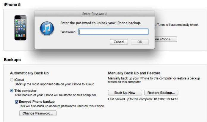 iphone restore password how to iphone 5 4s 4 backup password 6243