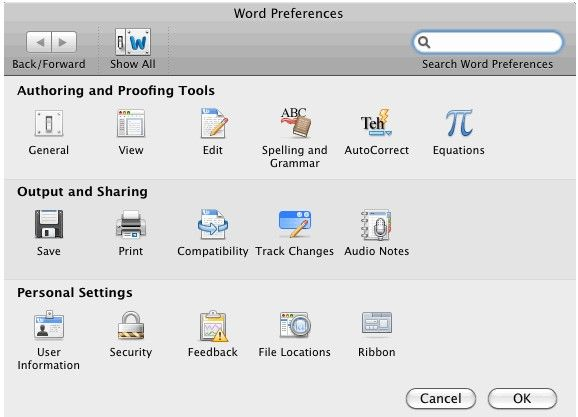 word-preferences security