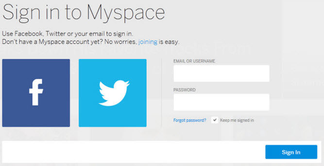 sign in to MySpace