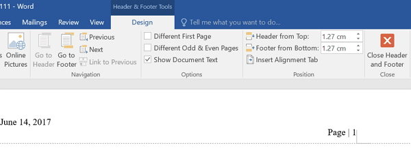 how to close header and footer in word