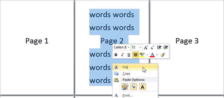 How to deleteremove a page in word 2010 with screenshots clear the whole page cut word page ccuart Image collections