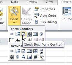 add checkboxes to excel spreadsheet