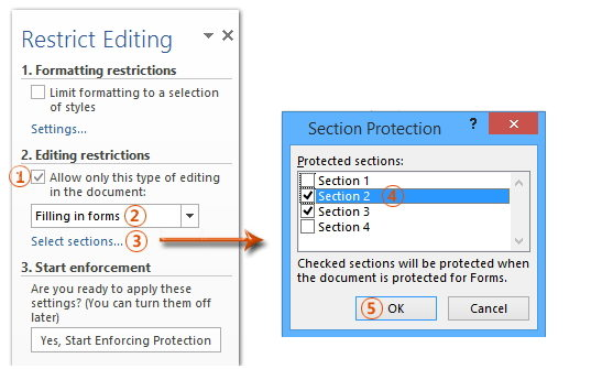 protect specified section in word 2016
