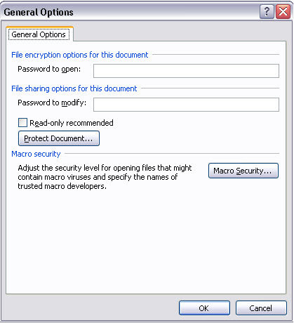 office 2007 password protection