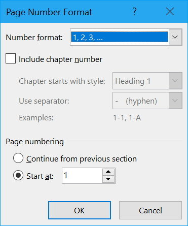 how to start page numbering later in word