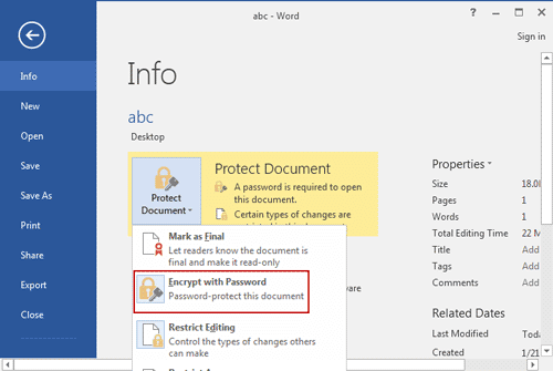 how to add password to word document 2016
