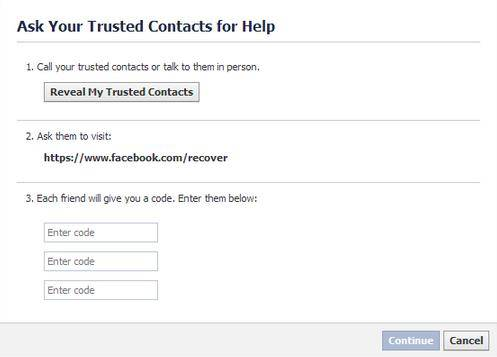 how to use facebook trusted contacts to recover password