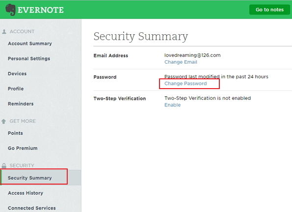 reset evernote password