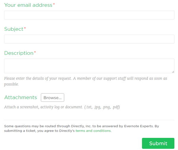 evernote password reset email not received