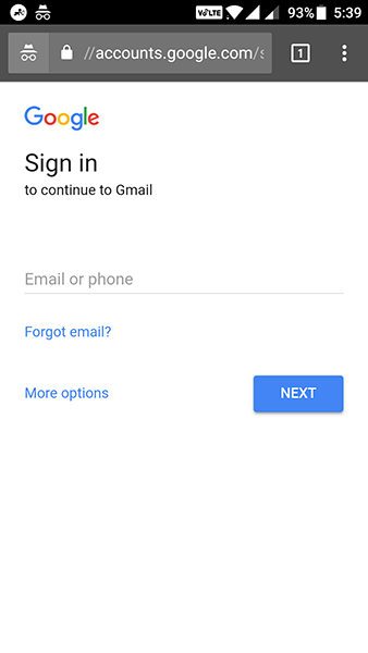 enter the google email address