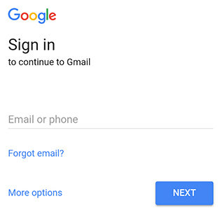 enter google email address