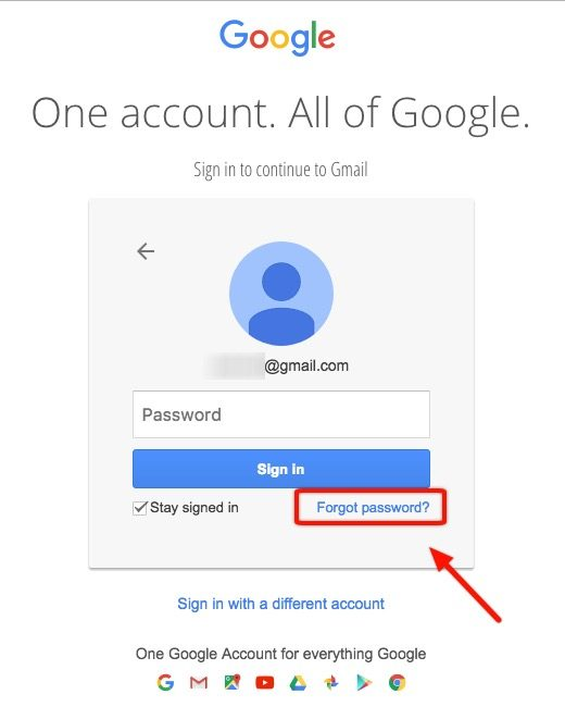 Resultado de imagen de forgot password google