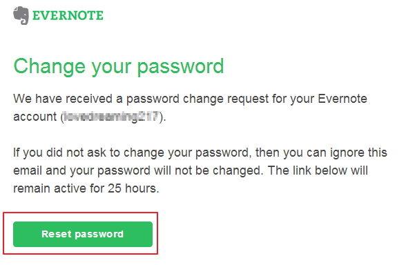 reset lost evernote password