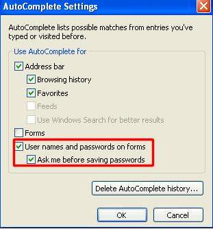 how to remember a password in internet explorer