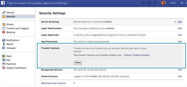 set facebook trusted contacts