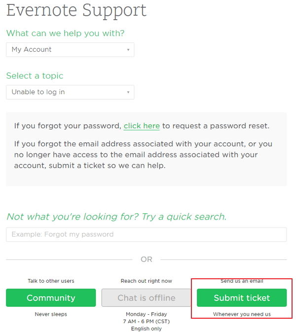 How to Reset Or Change an Evernote Password