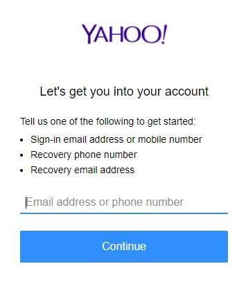 type email address or phone number to continue