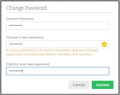 change evernote login password